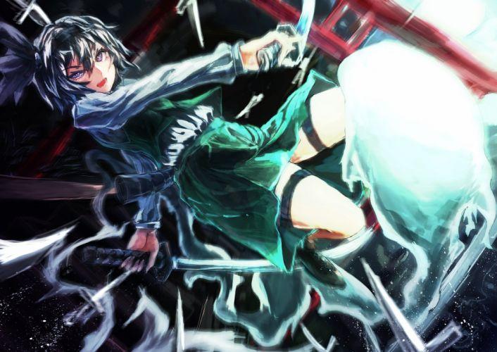 aruto2498 blue eyes headband katana konpaku youmu myon short hair skirt sword touhou weapon wallpaper