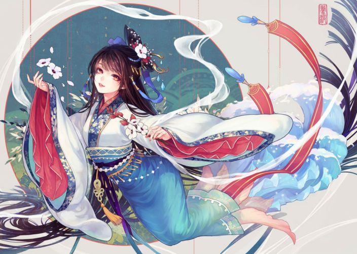brown hair chinese clothes flowers headdress long hair mamusya original petals red eyes wallpaper