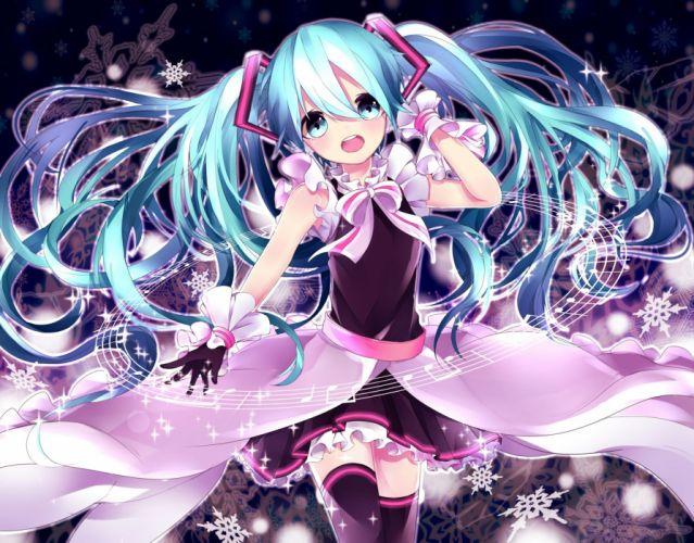aqua eyes aqua hair gloves hatsune miku long hair music sky hinata thighhighs twintails vocaloid zettai ryouiki wallpaper