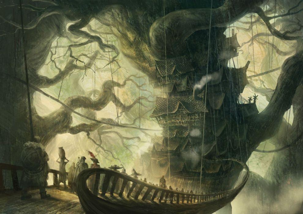 armor building city original scenic sword tree weapon you (shimizu) wallpaper