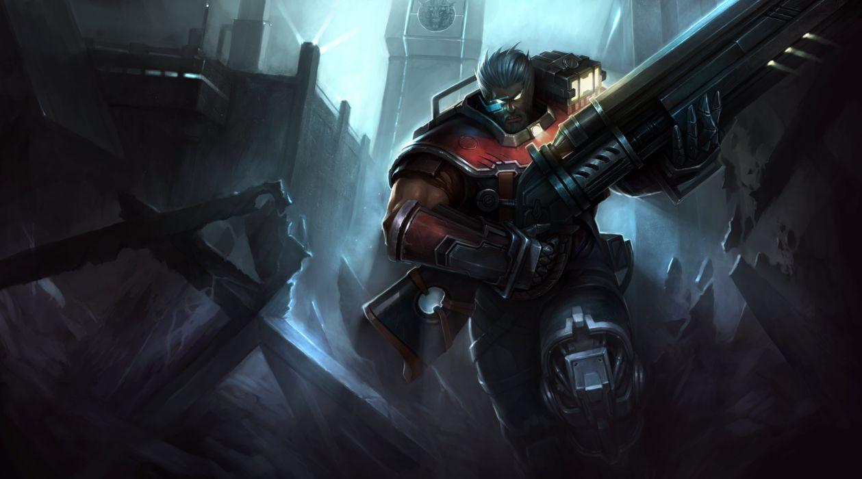 all male armor gray hair gun hanshu league of legends malcolm graves male short hair weapon wallpaper