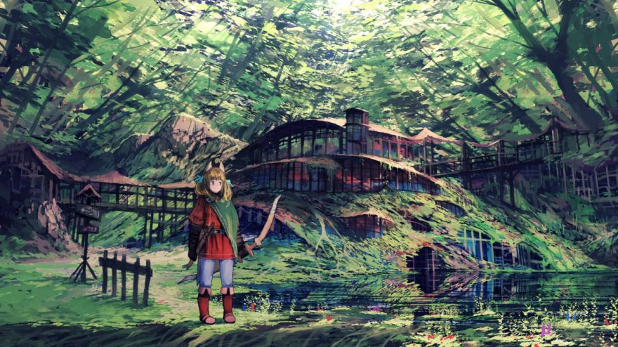 animal ears blue eyes boots bow (weapon) brown hair building forest jumpei99 original scenic sword tree water weapon wallpaper