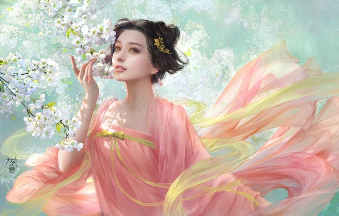 black hair brown eyes dress fan bingbing flowers hao6578300 original realistic short hair wallpaper