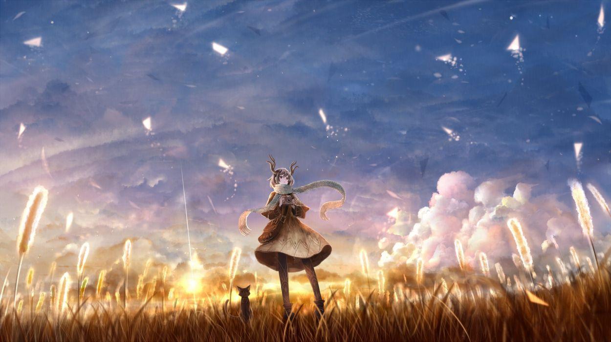 animal boots bou nin cat clouds dress grass horns original pantyhose scarf scenic sky wallpaper