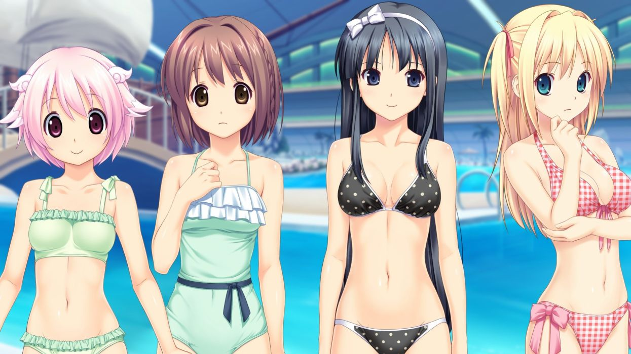 bikini fukami nagisa game cg kagurazaka namine kitami minamo koutaro pool swimsuit takara ichiko tropical vacation wallpaper