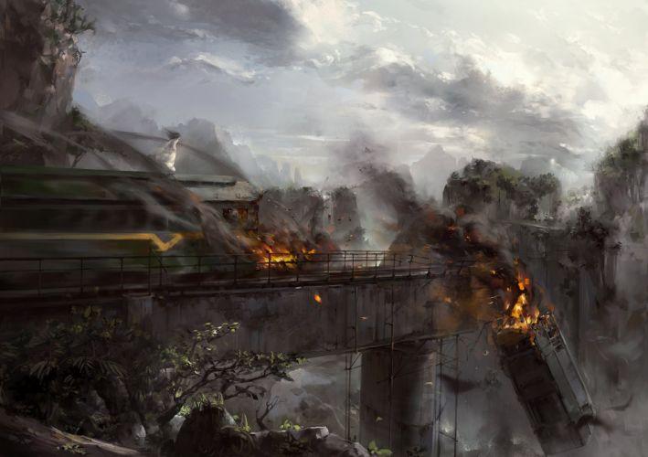 asenliy clouds fire landscape leaves long hair original ruins scenic sky train tree wallpaper