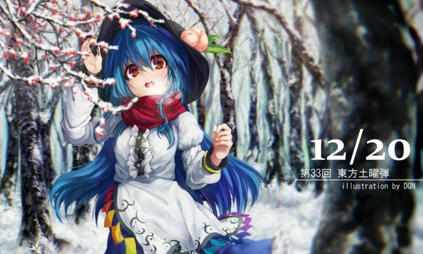 blue hair dqn (dqnww) dress hat hinanawi tenshi long hair red eyes scarf snow touhou tree watermark winter wallpaper