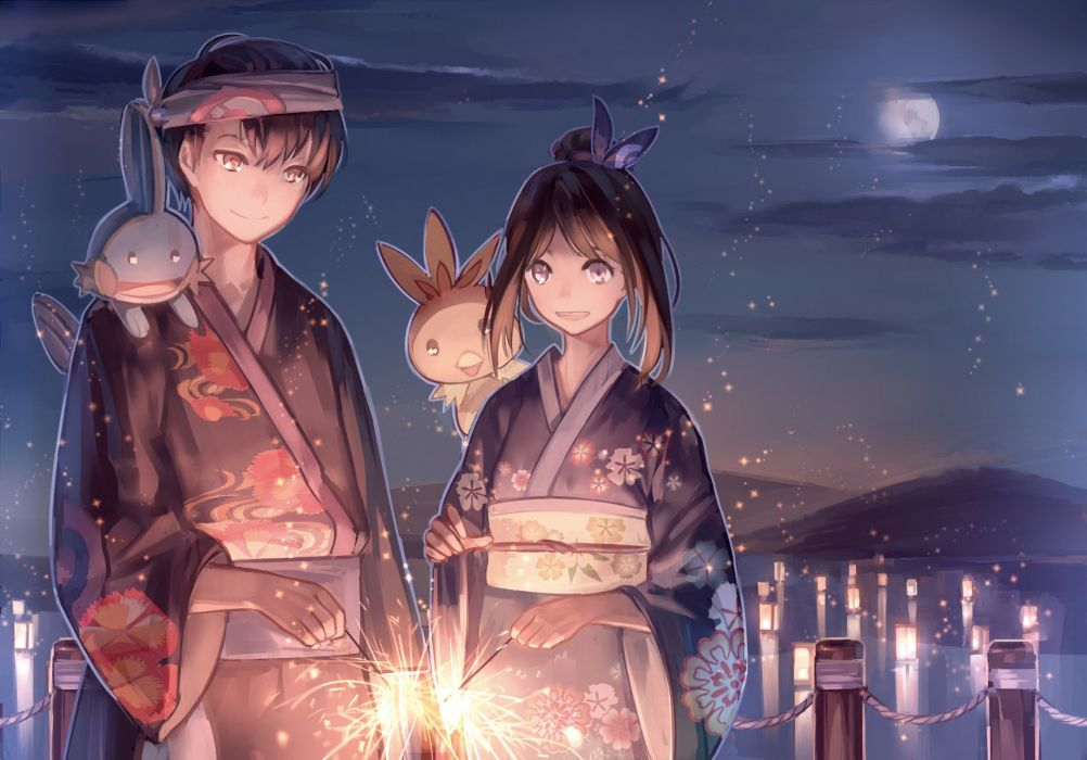 brown hair clouds fireworks headband male moon mudkip night pink eyes pokemon short hair sky torchic water yukata yuuki (pokemon) zicai tang wallpaper
