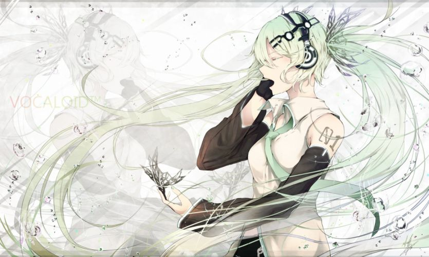 butterfly elbow gloves gloves green hair hatsune miku headphones long hair marumoru tie twintails vocaloid water zoom layer wallpaper