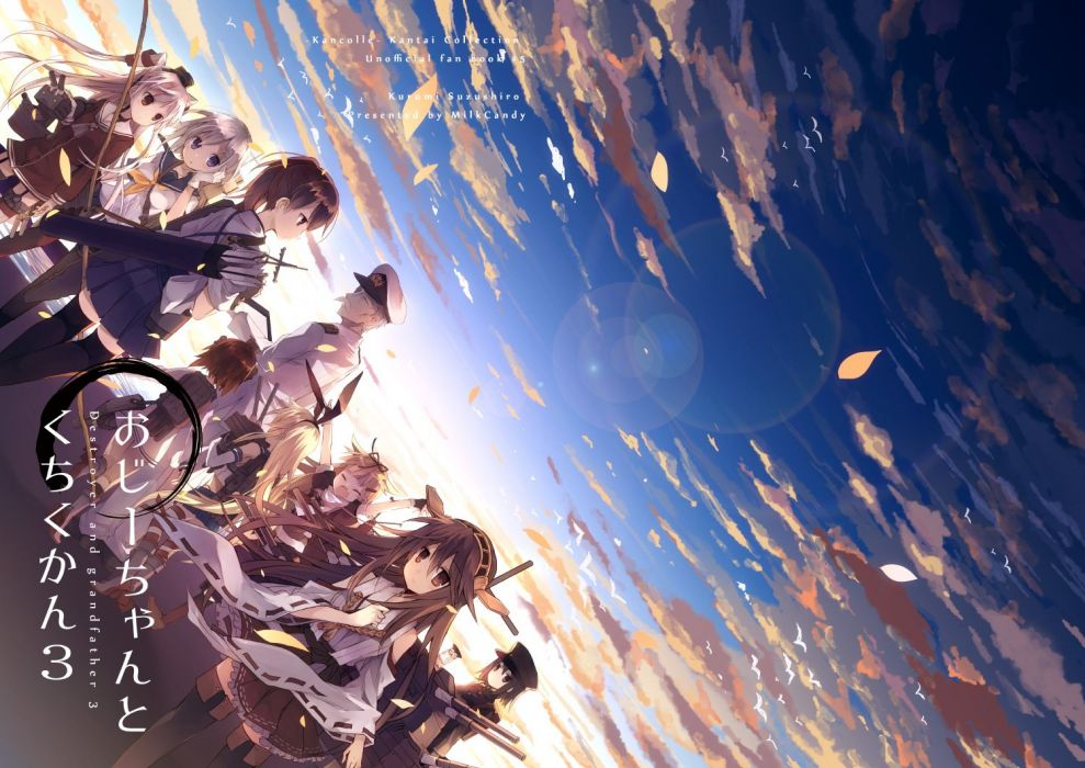 bow (weapon) brown eyes brown hair clouds gray hair group hat long hair male miko short hair skirt sky thighhighs twintails uniform weapon wallpaper