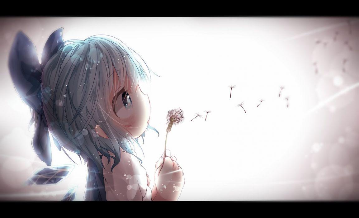 akisha blue eyes blue hair cirno flowers loli touhou wings wallpaper