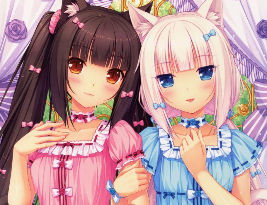 animal ears black hair blue eyes blush brown eyes cat smile catgirl choker long hair original pink hair sayori scan twintails vanilla (sayori) wallpaper