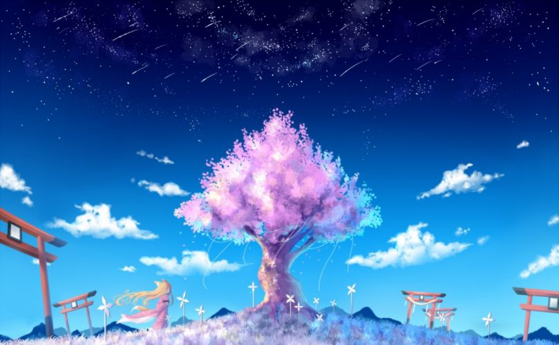 animal ears blonde hair cherry blossoms clouds grass long hair nongqiling original petals sky stars tail torii tree wallpaper