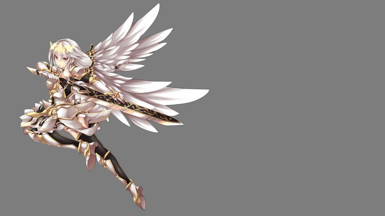 armor braids dress elesis (elsword) elsword fi-san long hair sword transparent weapon white hair wings wallpaper