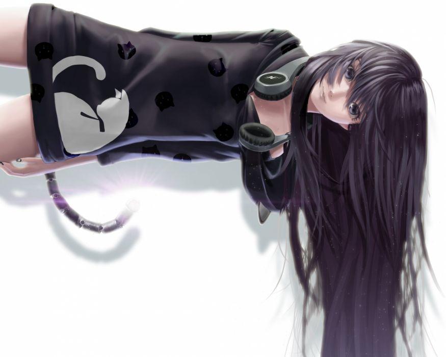 black eyes black hair catgirl dress headphones lepus long hair original tail wallpaper
