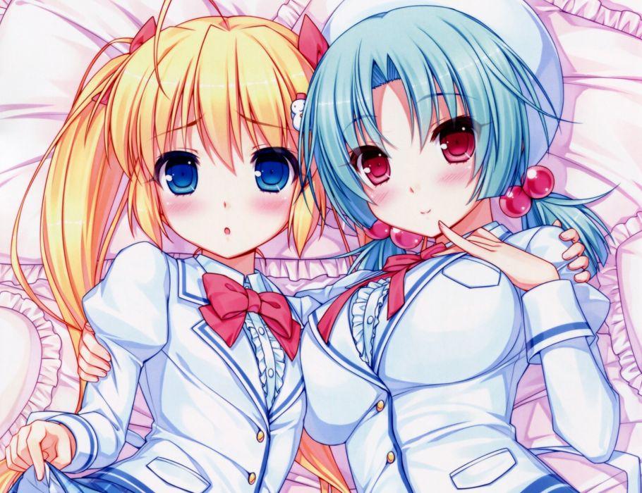 blonde hair blue eyes blue hair harumade kururu nitou harumi red eyes sayori seifuku shiren fuyune twintails wallpaper