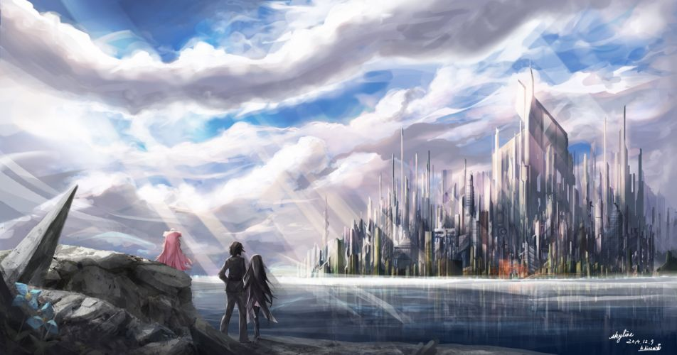 black hair city clouds flowers landscape long hair male original pink hair riburanomind scenic short hair signed sky thighhighs water wallpaper