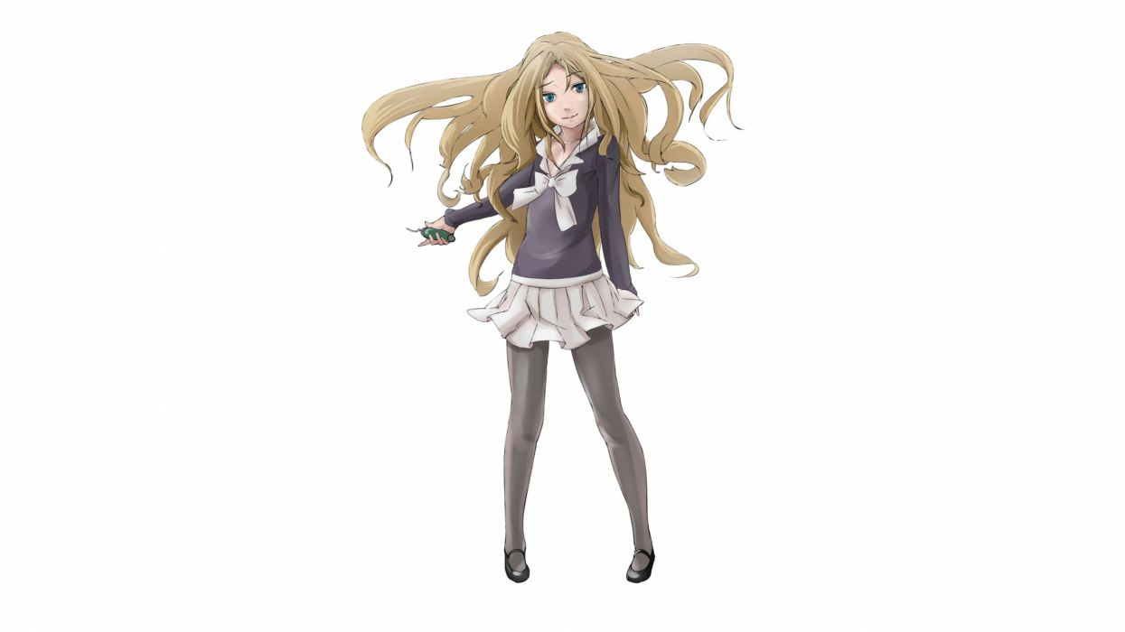 blonde hair blue eyes frenda seivelun hige maru long hair pantyhose ribbons seifuku skirt to aru kagaku no railgun t aru majutsu no index white wallpaper
