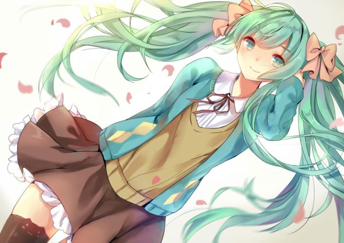 bow elise (piclic) green eyes green hair hatsune miku long hair petals ribbons seifuku skirt thighhighs twintails vocaloid wallpaper