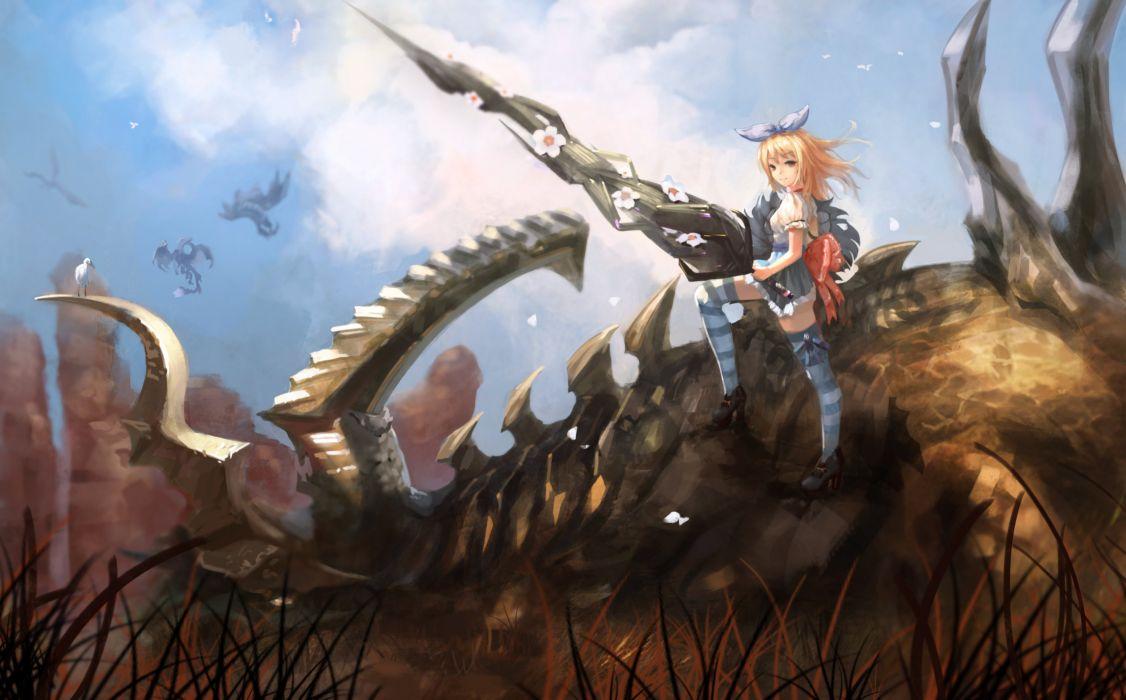 animal bird blonde hair bones bow elin grass long hair magician (artist) skirt sword tera online thighhighs weapon wallpaper