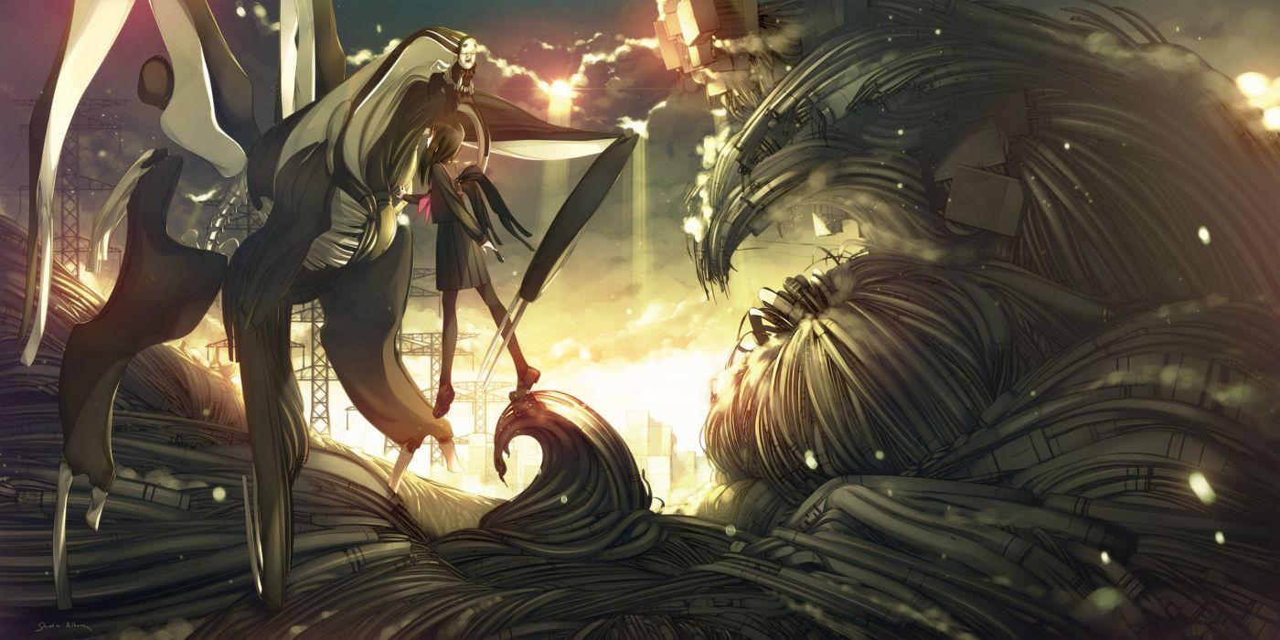 black hair clouds iku ki long hair original pantyhose seifuku wings wallpaper