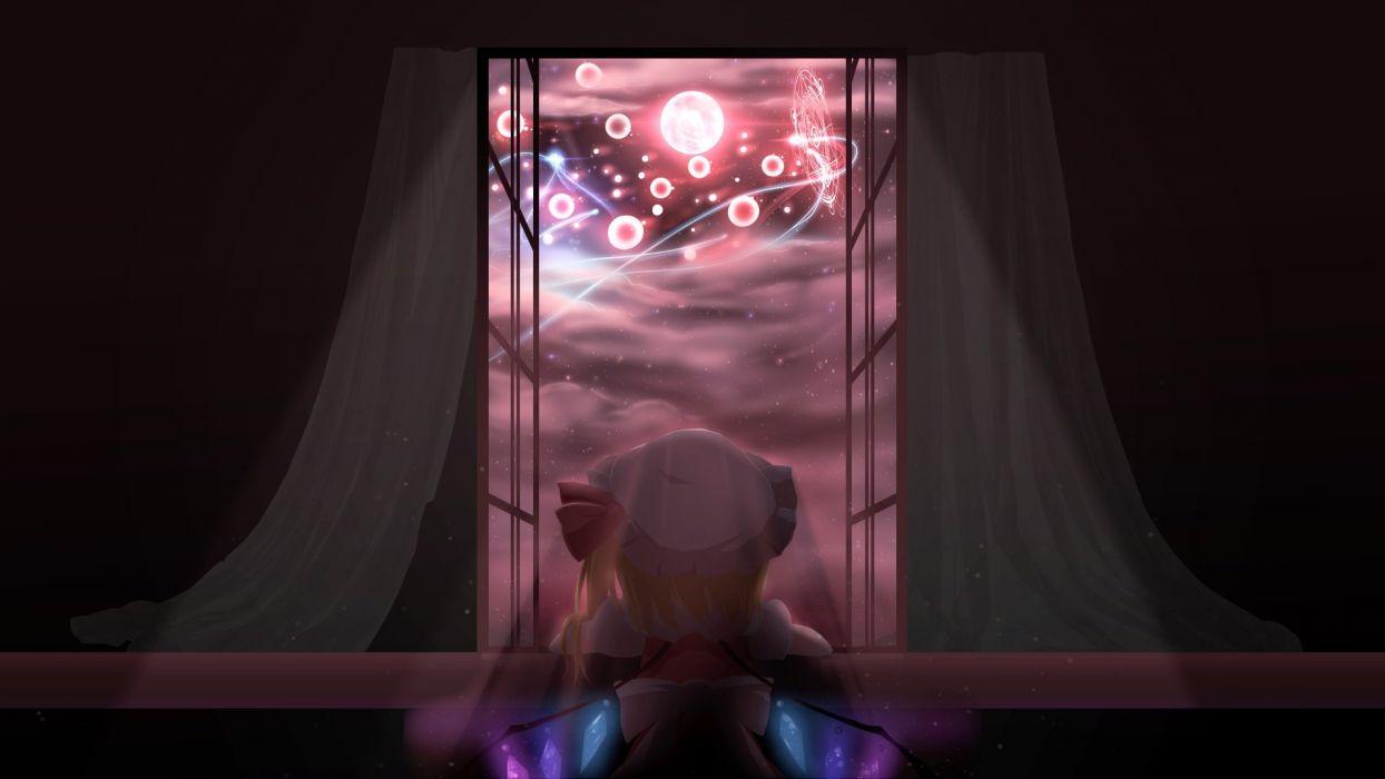 blonde hair clouds flandre scarlet magic moon stars touhou wallpaper