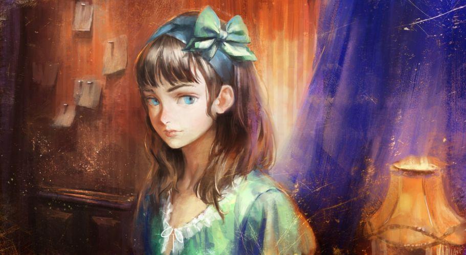 blue eyes bow brown hair headband long hair nababa original wallpaper