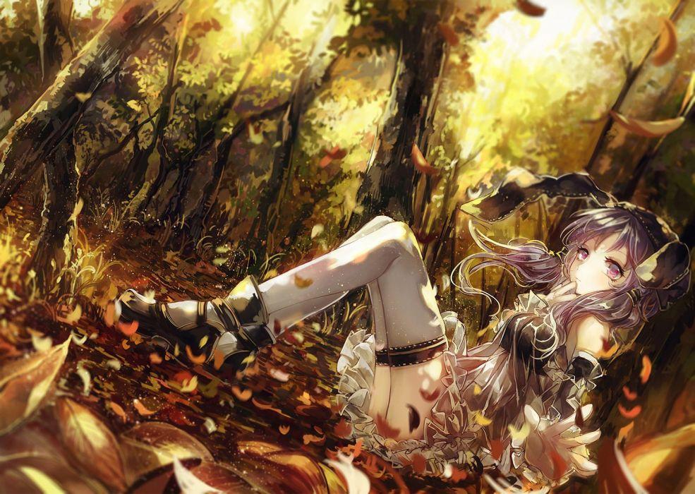 dress forest leaves long hair purple eyes purple hair thighhighs tree twintails vima vocaloid yuzuki yukari wallpaper