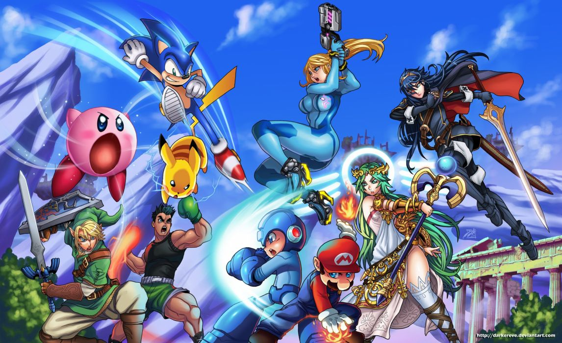 Kirby Link Zelda Pikachu Samus Aran Sonic Sonic The Hedgehog Super