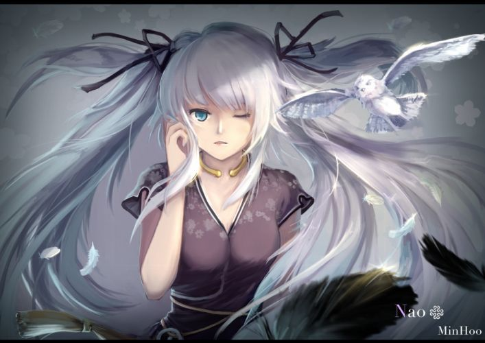 animal bird blue eyes feathers long hair mabinogi minhoo nao owl ribbons white hair wink wallpaper