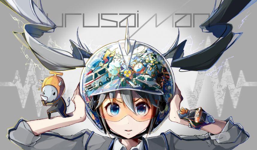 blue eyes goggles hat hatsune miku nou twintails vocaloid wristwear wallpaper