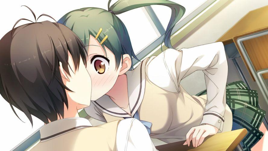 blush brown eyes cube enomoto kaho game cg green hair kantoku kiss male ponytail seifuku short hair your diary wallpaper