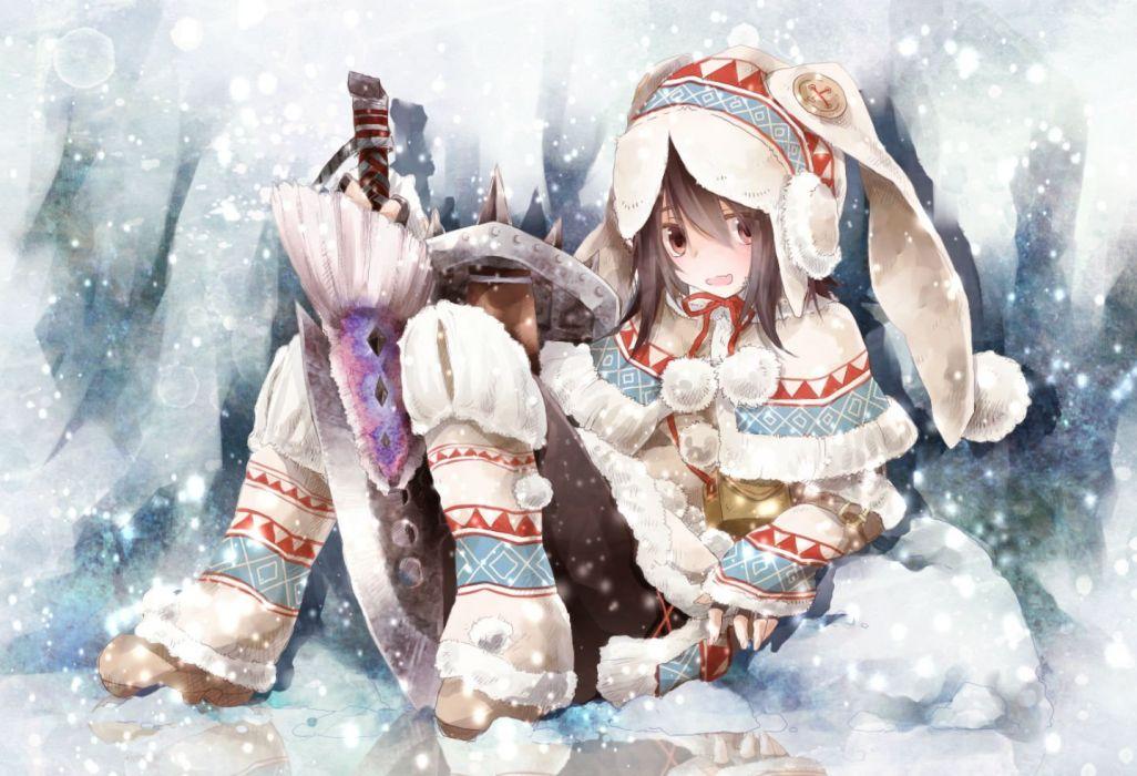 brown eyes brown hair hat monster hunter pantyhose snow sword toutenkou weapon winter wallpaper