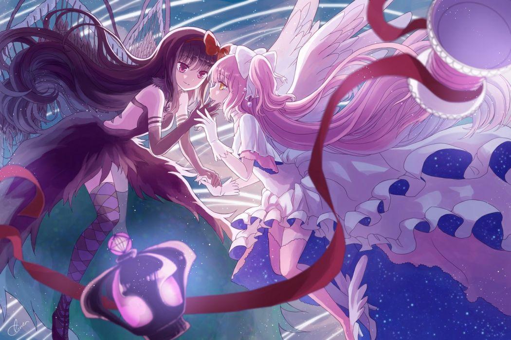 girls akemi homura akuma homura black hair dress elbow gloves gloves kaname madoka li luo long hair pink hair thighhighs ultimate madoka wings wallpaper