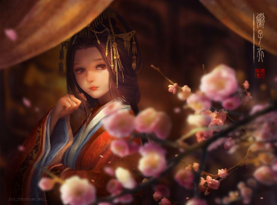 brown eyes brown hair flowers japanese clothes kimono long hair lost elle nikki up2u a dressing story wallpaper
