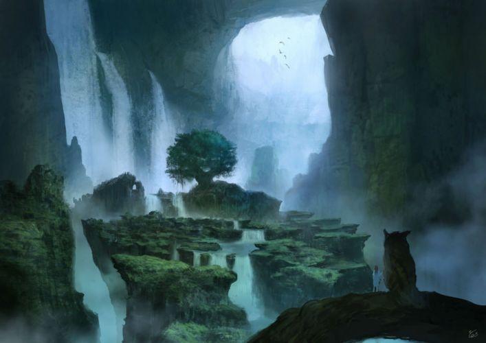 animal bird landscape nobody original owl scenic signed tree water waterfall you (shimizu) wallpaper