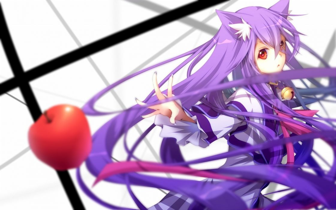 animal ears apple bell collar kawasaki toiro long hair original purple hair red eyes ribbons wallpaper