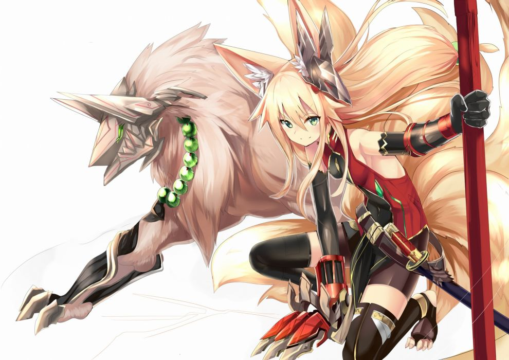 animal ears blonde hair elbow gloves foxgirl green eyes haik long hair mask multiple tails necklace original skintight sword tail thighhighs weapon wallpaper
