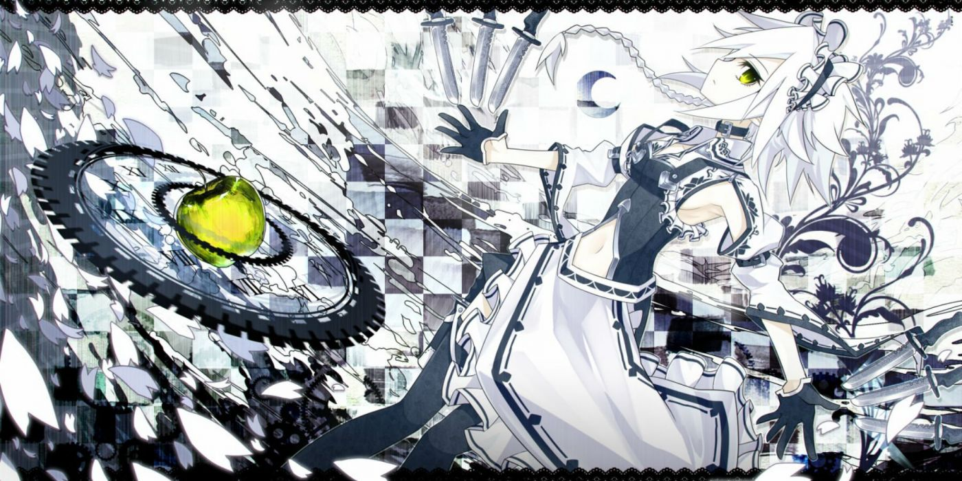 apple gloves green eyes izayoi sakuya knife kusakanmuri maid petals short hair touhou weapon white hair wallpaper