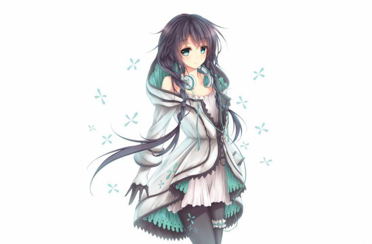 aqua eyes black hair braids dress garter gloves headphones long hair pantyhose utau white wsman xia yu yao wallpaper