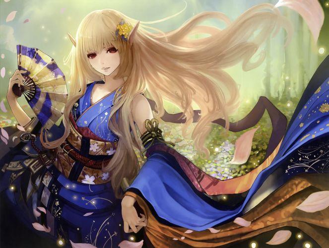 blonde hair fan japanese clothes petals pointed ears red eyes scan tachikawa mushimaro wallpaper