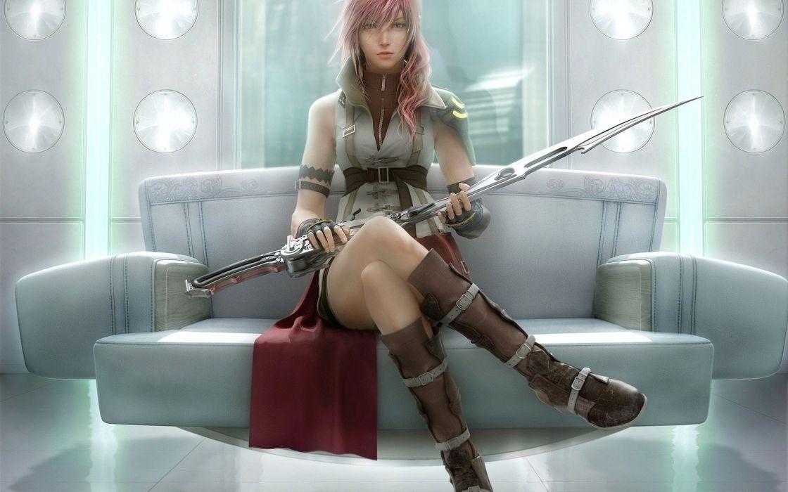 girl art fantasy sword Warrior Final XIII wallpaper