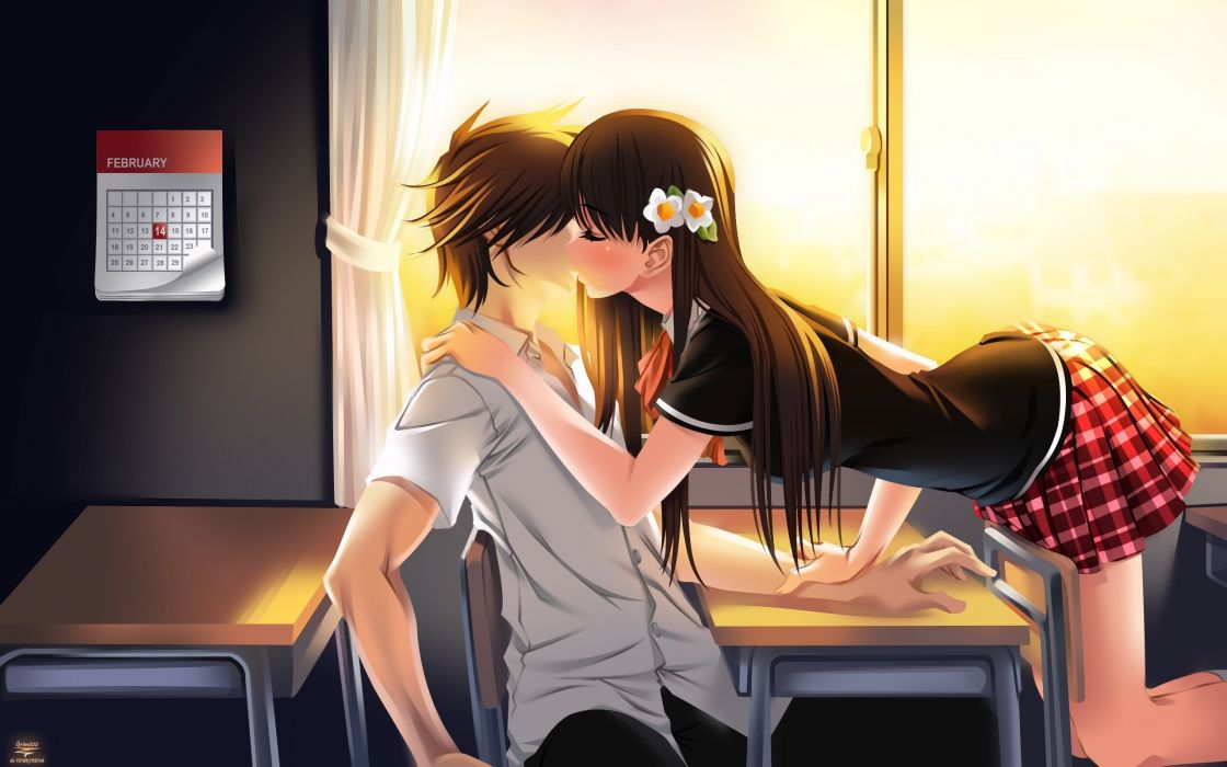 Anime Kiss Girl Love Valentines Day Boy Couple Wallpaper 2560x1600