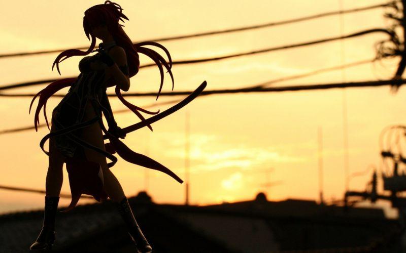 silhouette girl sword katana sunset wallpaper
