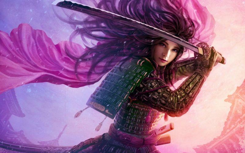 warrior fantasy girl pink hair L5R Legend-of-the-Five-Rings fantasy online cardga wallpaper