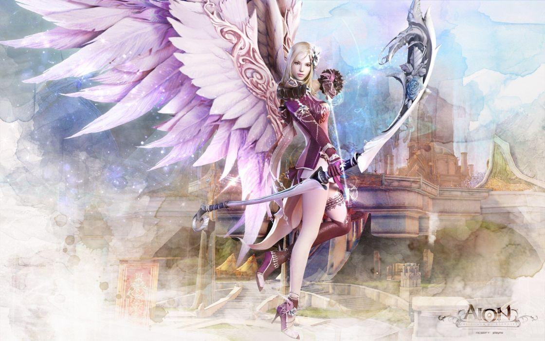 angel game girl sword angel 2 0 aion wallpaper