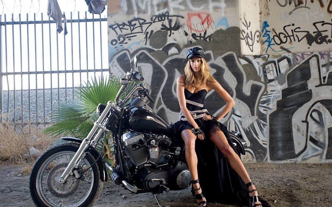 Alessandra Ambrosio model women brunette fashion graffiti motorcycle  wallpaper