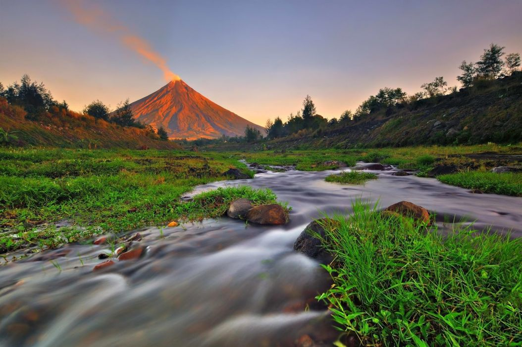 Landscape nature mountain river creek grass volcan wallpaper