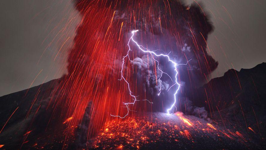 element volcano smoke lightning lava wallpaper