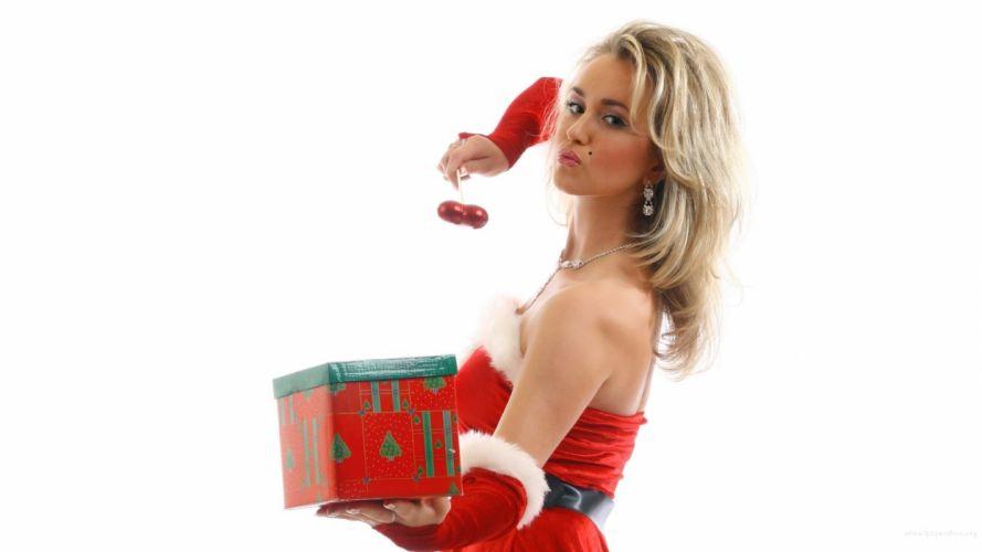 Merry Christmas girl model holiday winter snow beautiful tree gift santa woman wallpaper